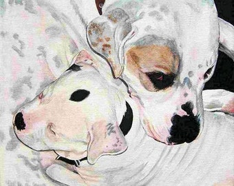 Custom Pet Portrait Pet Painting 11x14 TWO Pets Any Animal Mix Dogs Cats Horses