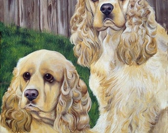 Commissioned Hand Painted 16x20 Two subject Painting Of Your Pets any Animal Dog Cat or Horse