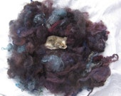 3 ounces Aurora picked loose roving black