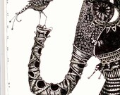 Illustration elephant and bird Art Prints by Mary Vogel Lozinak      srajd zentangle zen tangle 8x10