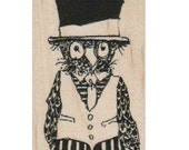 Steampunk Owl Stamp whimsical  Rubber Stamp by Mary Vogel Lozinak  18306