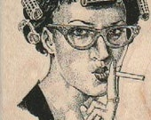 Retro woman in curlers smoking cigarette  stamp cling, unmounted or  wood Mounted   rubber stamp    stamp number 18412