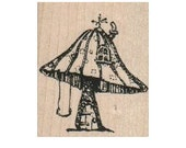 Steampunk Mushroom toadstool house Stamp whimsical  Rubber Stamp by Mary Vogel Lozinak  18301