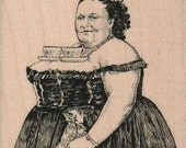 Tea Cup Fat Lady  rubber stamp    stamps stamping  number 18499