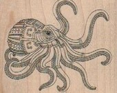 Rubber stamp Steampunk octopus zentangle squid beach fish  scrapbooking stamping supplies number 18446