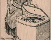 woman with washing machine  rubber stamps place cards gifts unmounted  number18564