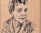 Rubber stamp Crazy lady in curlers    scrapbooking supplies number 4209  Hilda Alice Ogden Crabtree