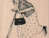 Rubber stamp old woman on a scooter  humor   unmounted, cling or wood Mounted  scrapbooking supplies 18692