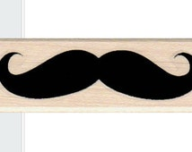 Handlebar Mustache rubber stamp small 3/4 x 1 3/4 inches  number18127  wood mounted unmounted cling stamp