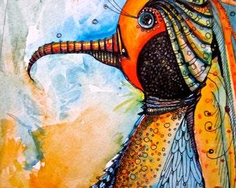 Illustration Bird Painting  Art Prints by Mary Vogel Lozinak      srajd zentangle zen tangle 10x14