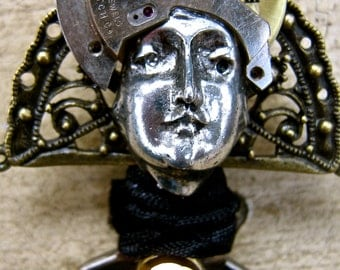 Steampunk jewelry Angel brooch watch parts, new and vintage parts tateam
