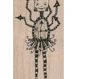 Clock Girl  whimsical unmounted  Rubber Stamp by Mary Vogel Lozinak  tateam EUC team steampunk 18263