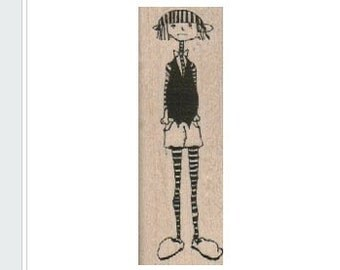 skinny girl stamp Lady with hat whimsical unmounted Rubber Stamp by Mary Vogel Lozinak  18302