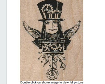 rubber stamp Steampunk supplies woman in top hat and wings stamp whimsical  Rubber Stamp by Mary Vogel Lozinak  tateam EUC team  18365
