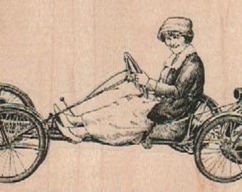 woman in antique steampunk car     unMounted   rubber stamp    stamp number 18382