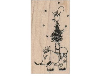 Elephant with Bird    Steampunk Rubber Stamp wood mounted designed by Mary Vogel Lozinak no 18485 circus