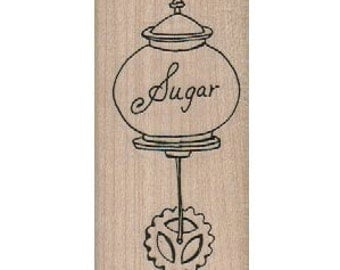 Sugar bowl  with wheels tea party  Steampunk Rubber Stamp wood mounted designed by Mary Vogel Lozinak no 185456