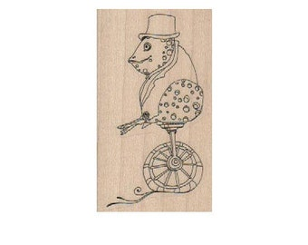 frog on wheels   Steampunk Rubber Stamp wood mounted designed by Mary Vogel Lozinak no 18546
