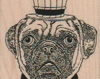Rubber stamp Dog face pug Steampunk  unMounted  scrapbooking supplies number 18664