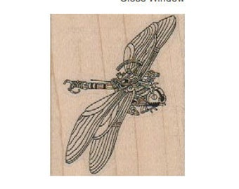 Rubber stamp  Steampunk  supplies DRAGONFLY wood Mounted  scrapbooking supplies number 18663