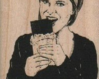 Woman eating chocolate bar rubber stamps place cards gifts   wood mounted  number18587