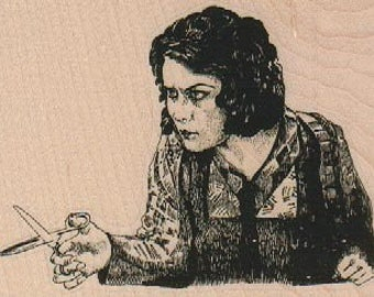 woman with scissors rubber stamps place cards gifts unmounted mounted or cling stamp  number18495
