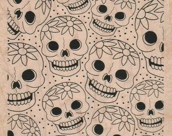 skulls Background rubber stamp Day of the Dead rubber stamps     15397