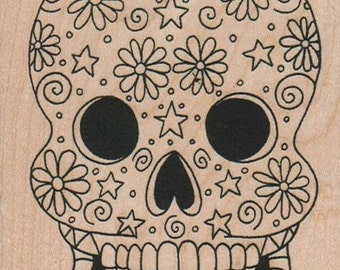 Mexican sugar skull    rubber stamp   cling stamp, unmounted or    wood mounted 15800