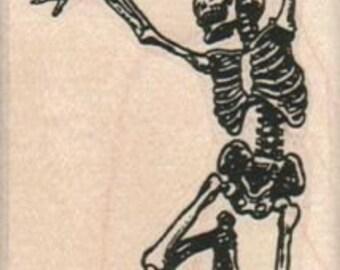 Rubber stamp Halloween dancing skeleton bones  unMounted  scrapbooking supplies number 10373