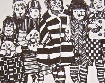 adult coloring page Illustration Children Girls Winter Scene Art Prints by Mary Vogel Lozinak      srajd zentangle zen tangle 14x10