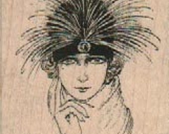 Gatsby Wood mounted rubber  stamp   woman in a hat Flapper  18542