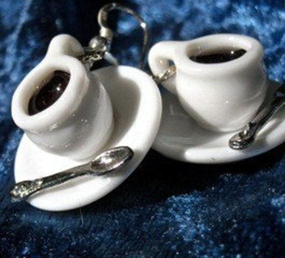 Coffee cup Earrings      silver ear hooks Morning Brew   silly earrings   mary vogel lozinak  srajd