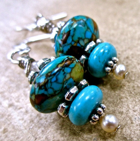 Turquoise and Silver Pierced Earrings dangle blue  vintage faux pearls   tateam