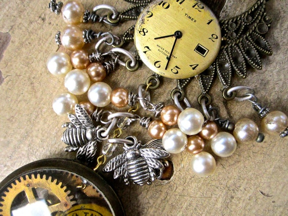 Steampunk Shabby Romantic Necklace Pocket watch,gears,beads, antique parts tateam zne srajd