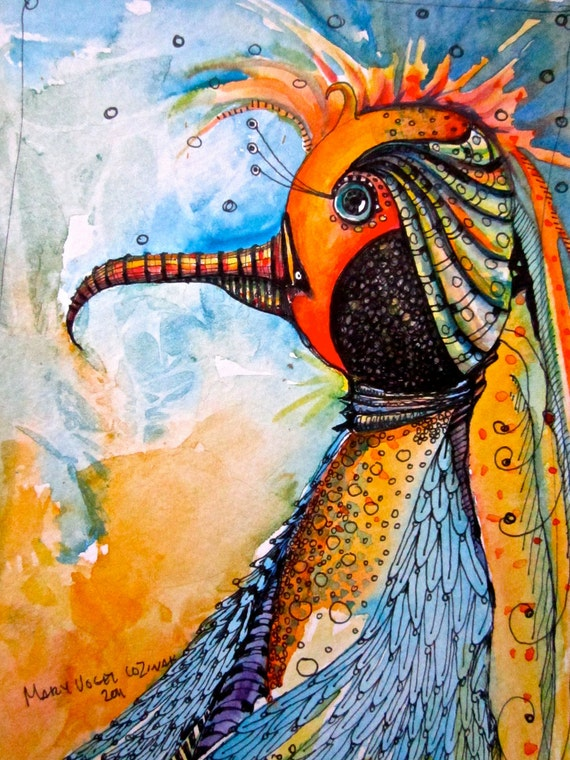 Illustration Bird Painting  Art Prints by Mary Vogel Lozinak      srajd zentangle zen tangle 8x10