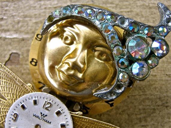 Steampunk Jewelry  Brooch Miniature Art Doll  OOAK  tateam