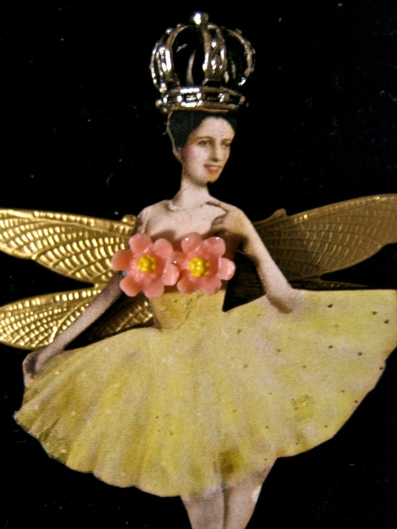 Yellow Ballerina Fairy brooch or pendant steampunk style  Little lucite flowers pink tateam