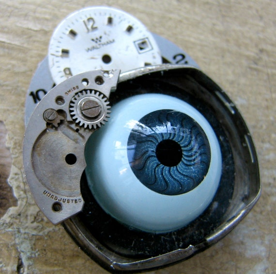 Steampunk Brooch Eye on You     vintage assemblage artisan jewelry by mary vogel lozinak srajd