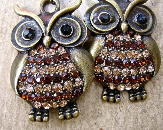 Retro Owl Jewelry Large rhinestone owl Earrings    gift for her   pierced earrings  tateam