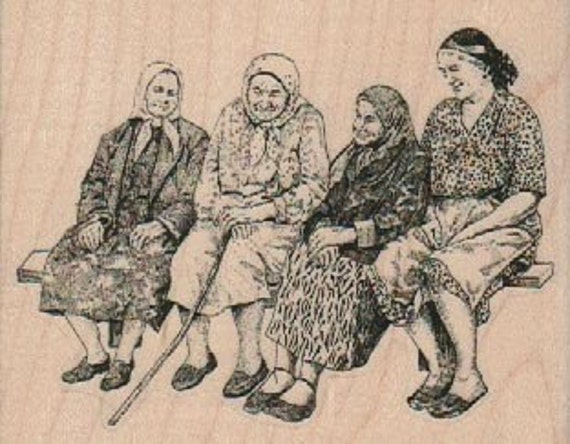 Old ladies gossiping on a bench  stamp  rubber stamp    stamp number 18396
