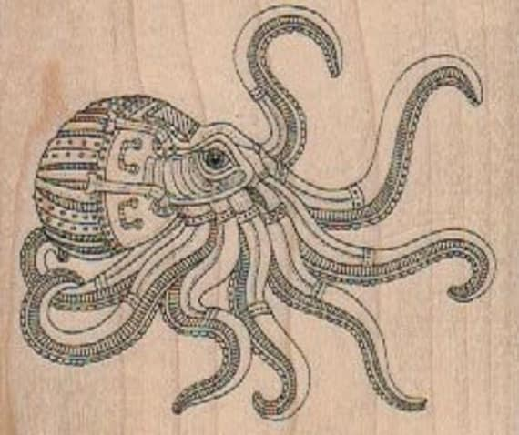 Rubber stamp Steampunk octopus  wood Mounted  scrapbooking supplies number 18446