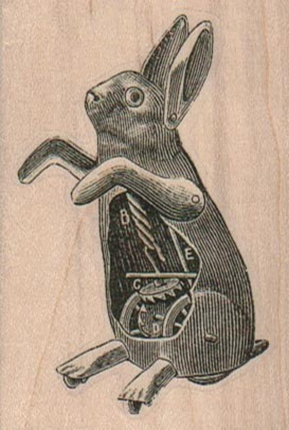 Steampunk rabbit bunny  rubber stamps place cards gifts  unmounted 16032