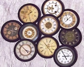 Vintage Look Paper Clock Face Embellishments - Series 2 - Set of TEN - for scrapbooking,cardmaking, ACEO and other altered art.
