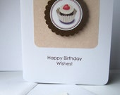 Heart Cupcake Birthday Card - with envelope and matching sticker seal