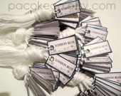 Customized 1 x .5 inch Super Mini Jewelry Tags - Set of 160 - Prestrung with your choice of string color