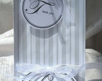 Elegant Circle Thank You Tags - Set of 20 - for shower favors, weddings, business - Customizable