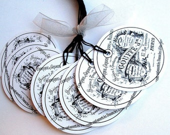 Black and White French Script Logo 2 inch Prestrung Circle Tags - Set of 8