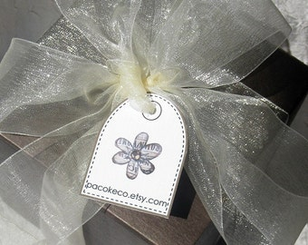 Dome Topped Customized Flower Tag Assortment - Set of 36 - perfect for your etsy shop, craft and trade shows, weddings, showers