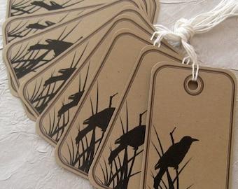 Bird in Reeds Prestrung Kraft Tags - Set of 10