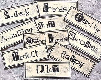 MOMENTS WORD BLOCKS - embellishments for cardmaking, scrapbooking, ACEOs, ATCs and other altered art